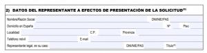 Remplir le formulaire EX18 - Datos del representante