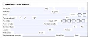 Remplir le formulaire EX18 - Datos del solicitante