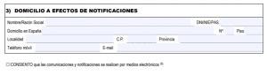 Remplir le formulaire EX18 - Domicilio a efecto de notificaciones
