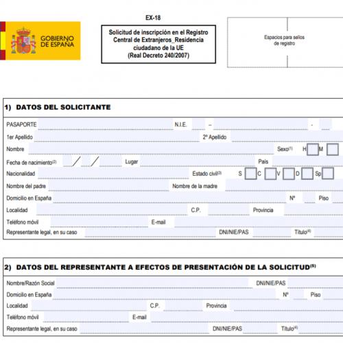Remplir le formulaire EX18 - Vivre à Valencia